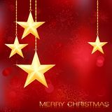 Merry Christmas card with golden stars. Festive red Christmas background with golden stars, snow flakes and grunge elements Royalty Free Stock Photos