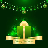 Merry christmas card with green garland stock illustration