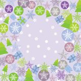 Merry Christmas Card, green, lilac and purple. Stock Photos