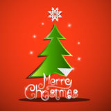 Merry Christmas Card with Green Tree Stock Photo