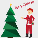 Merry Christmas card with green tree, yellow star on background. Boy in Santa's costume. Vector illustration editable template. Stock Image