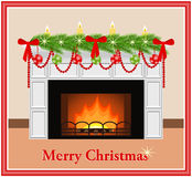 Merry Christmas card. Merry Christmas - greeting card. Festive fireplace with red and green balls, candles, bows and branches of Christmas tree in flat style Royalty Free Stock Photo