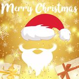 Merry Christmas card. Merry Christmas greeting card festive inscription with ornamental Santa hat, beard and mustache, snowflake and gifts on bokeh gold Royalty Free Stock Photography