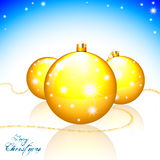 Merry Christmas card. Merry Christmas greeting card with Xmas balls and shining stars Stock Images