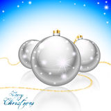 Merry Christmas card. Merry Christmas greeting card with Xmas balls and shining stars Stock Photo