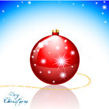 Merry Christmas card. Merry Christmas greeting card with Xmas balls and shining stars Royalty Free Stock Photos