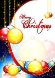 Merry Christmas card. Merry Christmas greeting card with Xmas balls and shining stars Stock Image