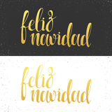 Merry Christmas card with greetings in spanish language. Feliz navidad Stock Photos