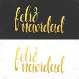 Merry Christmas card with greetings in spanish language. Feliz navidad Stock Photos