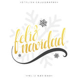 Merry Christmas card with greetings in spanish language. Feliz navidad Stock Photo