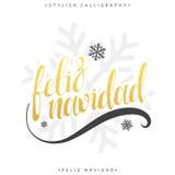 Merry Christmas card with greetings in spanish language. Feliz navidad Stock Photo