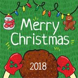 Merry christmas 2018 card hand draw royalty free stock photo
