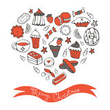 Merry Christmas card with hand drawn desserts Stock Photos