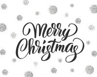 Merry christmas card with hand drawn lettering  Stock Images