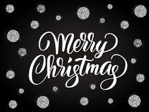 Merry christmas card with hand drawn lettering  Royalty Free Stock Image