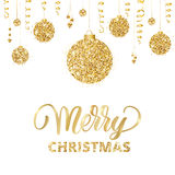 Merry christmas card with hand drawn lettering and golden glitter stock illustration