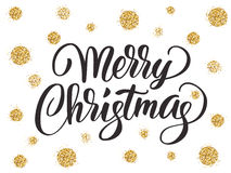 Merry christmas card with hand drawn lettering and golden glitter dots Stock Images
