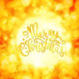 Merry Christmas Card. With hand drawn lettering over sparkling background,  illustration Stock Image