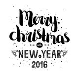 Merry christmas card with hand drawn lettering Royalty Free Stock Photos