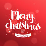 Merry christmas card with hand drawn lettering Stock Image