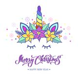 Merry Christmas card with hand drawn lettering, Unicorn Tiara with rainbow horn and Christmas star flower Poinsettia. Vector illustration isolated on white stock illustration