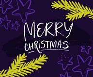Merry Christmas card with hand lettering and christmas tree branches. Green twigs and stars on violet background. royalty free illustration