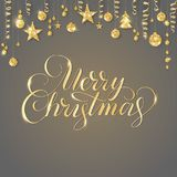 Merry Christmas hand written lettering. Golden glitter border, garland with hanging balls and ribbons. Royalty Free Stock Images