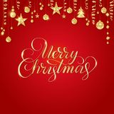 Merry Christmas hand written lettering. Golden glitter border, garland with hanging balls and ribbons. Stock Photos
