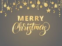 Merry Christmas hand written lettering. Golden glitter border, garland with hanging balls and ribbons. Stock Image