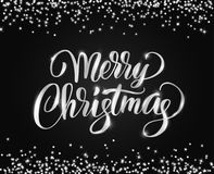 Merry Christmas card with hand written lettering. Silver glitter border, falling confetti on black. Merry Christmas card with hand written lettering. Holiday Stock Image
