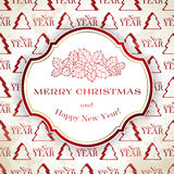 Merry Christmas card. Merry Christmas and Happy New Year background in red color Stock Photography