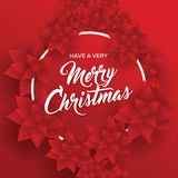 Merry Christmas. Card. Happy New Year. Red Background. Christmas Flowers Royalty Free Stock Photo