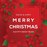 Merry Christmas. Card. Happy New Year. Red Background. Christmas Flowers Royalty Free Stock Photography