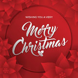 Merry Christmas. Card. Happy New Year. Red Background. Christmas Flowers Stock Photo