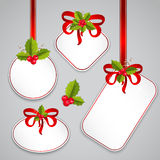 Merry Christmas card and Happy New Year tags Royalty Free Stock Photo