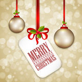 Merry Christmas card and Happy New Year tags Stock Photos