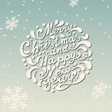 Merry Christmas Card. Merry Christmas and Happy New Year typography, handwriting Stock Images