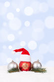 Merry Christmas card hat decoration with fir branch Stock Image