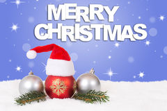 Merry Christmas card hat decoration Stock Photos