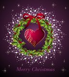 Merry Christmas card with heart Stock Photos