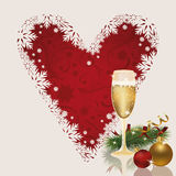 Merry Christmas card with heart and champagne. Vector illustration Royalty Free Stock Photo