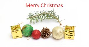 Merry christmas card with holiday decorations. Picture of a merry christmas card with holiday decorations Stock Photo