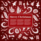 Merry Christmas card with Holiday elements. Vector illustration. Hand drawn new year concept with copy space Royalty Free Stock Images