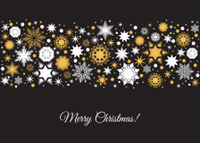 Merry Christmas card with  holiday pattern from gold and white  Stock Photography