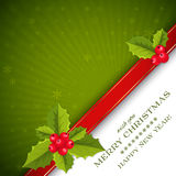 Merry Christmas card with holly berries Royalty Free Stock Photos