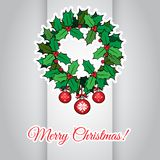 Merry Christmas card with holly berry wreath Stock Image
