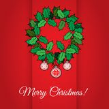 Merry Christmas card with holly Royalty Free Stock Photo