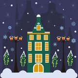 Merry christmas card with house. Vector illustration. Happy new year. Merry christmas card with house. Happy new year stock illustration