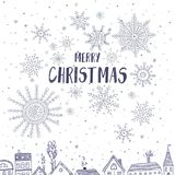 Merry Christmas card with houses in city Royalty Free Stock Images