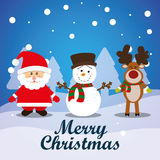 Merry christmas card. And icons design, vector illustration Royalty Free Stock Photos